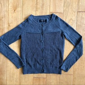 All Saints Grey Button Front Cotton Cardigan